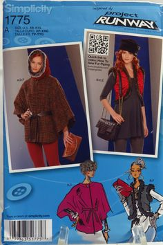 Simplicity 1775 Misses' Accessories Cape, Vest, Hat, Hood, Bag and Clutch