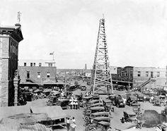 Photo of Oil Rig, Main Street, Breckenridge, Texas, 1920 I was born in… Oilfield Trash, Oilfield Life, Free Photographs, Free Photos, Vintage Photographs, Loving Texas, Oil Rig, Texas History, Texas Usa