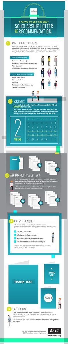 Educational infographic & Data 5 Ways To Get The Best Letter Of Recommendation For Scholarships . Image Description 5 Ways To Get The Best Letter Of School Scholarship, Scholarships For College, Graduate School, College Students, Financial Aid For College, College Planning, College Savings, Career Planning, College Information