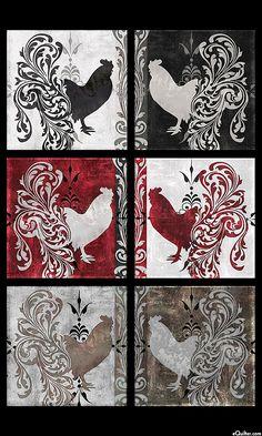 """Bonjour - Baroque Rooster Frames - Black - 24"""" x 44"""" PANEL"""