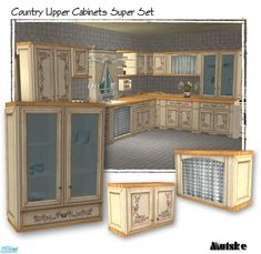Set of all my Uppercabinets for the Coutry Kitchen.  Found in TSR Category 'Sims 2 Downloads'