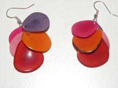 dangle drop earrings earhooks with purple orange by MaisonDelclef