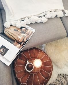 Afternoons with our Moroccan Pom Pom blanket and Moroccan Leather Pouf! www.harperarrow.com.au