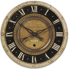 Features:  -Construction Material: Manufactured wood and brass.  -Clock does have a slight ticking sound.  -Wall clock.  Product Type: -Analog.  Finish: -Black, Beige.  Shape: -Round.  Style (Old): -T
