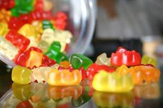 Vegan gummy candy recipe from http://cierracountry.wordpress.com/2013/05/20/vegan-gummy-bears/.