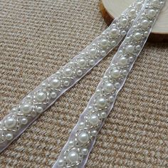 Beaded Lace Trim - Ivory Pearl Beaded Trim 36 long 0.43wide for Women sashes, Wedding Belt, Costume Jewelry    ◆ This listing is for 1 Yard. ◆ Measuring is about 0.43 (1.1 cm) wide    ◆ It can be used for wedding dress, lingerie, bra, dresses, dolls, bridal veil, altered art, couture, costume, Beaded Trim, Beaded Lace, Beaded Embroidery, Lace Trim, Beaded Belts, Wedding Belts, Wedding Dress, Yard Wedding, Gold Earrings Designs