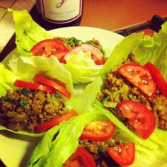 beef-less beef, spinach & tomatoes in lettuce wraps. home made