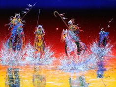 """Reflections of the Honored Ones"" by Raymond Nordwall (Pawnee, Ojibwe, Cherokee) kp Native American Decor, Native American Paintings, Native American Pictures, Native American Artists, American Indian Art, Native American History, Native American Indians, Arte Tribal, Tribal Art"