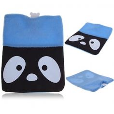 Winter Warmer Soft Cartoon Hot Water Bag Bottle with Torpid Expression Cover (Blue)
