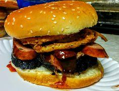 My favorite sandwich: Smoked brisket jalapeno sausage thin crispy onion rings and a shot of bbq sauce [OC][2590x1988]