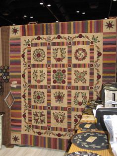 Wool quilt by Primitive Gatherings.I will finish mine in Promise! I love, love, LOVE this quilt. Wool Applique Quilts, Wool Quilts, Wool Embroidery, Felt Applique, Appliqué Quilts, Primitive Quilts, Primitive Crafts, Quilting Frames, Felted Wool Crafts
