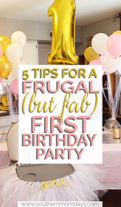5 Tips for a Frugal (but Fab) First Birthday Party Planning a frugal first birthday party<br> Hoping to impress for baby's first birthday party without breaking the bank? You'll love these tips for planning a fun and frugal celebration! 1st Birthday Party For Girls, Girl Birthday Themes, Girl Themes, First Birthday Decorations Girl, Birthday Photos, Planning 1st Birthday Party, Outside Birthday Decorations, 1st Birthday Activities, 1st Birthday Party Ideas For Girls