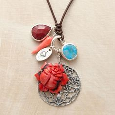 """A bewitching collection of charms in sterling silver, coral, quartz and chrysophase on leather cording. Handcrafted in the USA by Chan Luu.Shape and size of coral rose will vary. Approx. 34""""L."""