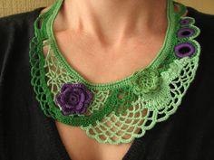 Crochet necklace green and purple Crochet freeform jewelry, Green neckpiece Collar necklace via Etsy
