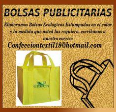Elaboramos Bolsas Publicitarias En Tela Pop, Ecológica, Reciclable, con la mejor calidad en Confección y estampados, en serigrafía o sublimación para su negocio o evento en los tamaños y colores que usted lo requiera, contactenos por nuestro correo Confecciontextil18@hotmail.com , reciclar, reciclaje, bio, biodegradable, ecobolsas, ecología, planeta, publicidad, negocio, eventos, bolsa, confección, publicidad, POP, publicidad, calidad, Confecciontextil18, BolsasEcologicas, Bolsa Ecológica