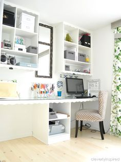 Office/Craft Room Reveal - bins, large clear jugs with chalk paint for labels Workspace Inspiration, Room Inspiration, Craft Room Storage, Craft Rooms, Space Crafts, Craft Space, Home Office Design, Home Projects, Just In Case