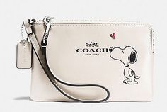 COACH X PEANUTS Snoopy Corner Zip Wristlet in White Calf Leather Wallet