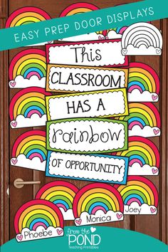 This is a printable resource kit that includes the pieces you can print to make a 'This classroom has a rainbow of opportunity' bulletin board, door, hall display or window display! Classroom Window Decorations, Classroom Door Displays, Rainbow Decorations, Classroom Walls, New Classroom, Classroom Themes, Classroom Images, Rainbow Bulletin Boards, Preschool Bulletin Boards