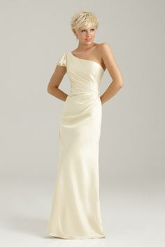 Allure Bridesmaids Wedding Dresses Photos on WeddingWire.......Could be used as a wedding dress...simple and elegant