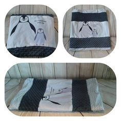 Belle doudou à motifs pingouin, envers Minky, fait main, fait au Québec Motifs, Pot Holders, Gym Bag, Bags, Handmade, Products, Handbags, Duffle Bags, Taschen