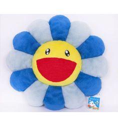 Takashi MURAKAMI - Flower Cushion Blue / 60cm Coussin en peluche bleu et jaune 100% Polyester 60 cm de diamètre / 23 Inches in diameter