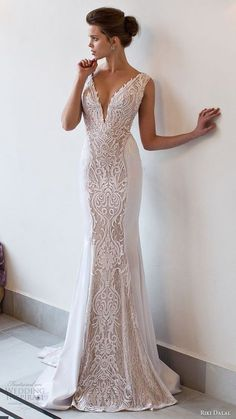 RIKI DALAL bridal 2016 sleeveless deep vneck thick straps embroidered bodice sheath wedding dress / http://www.deerpearlflowers.com/deep-plunging-v-neck-wedding-dresses/2/