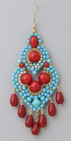 Miguel Ases Turquoise & Coral Mini Chandelier Earrings | SHOPBOP SAVE UP TO 25% Use Code: GOBIG16