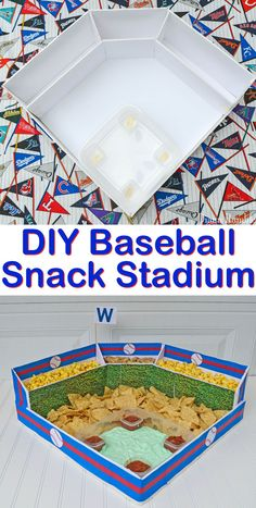 How to Make a Baseball Snack Stadium DIY Baseball Snack Stadium Party - Make this Baseball Snack Stadium for all your game day baseball playoffs celebrations. Perfect for a world series viewing or birthday party! Baseball Theme Birthday, Sports Birthday, Sports Party, Birthday Parties, Baseball Theme Food, Birthday Ideas, Baseball Party Games, 2nd Birthday, Baseball Tickets