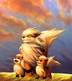 Arcanine and Growlithes. Growlithes are my favorite Pokemon.