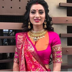 Elegant designer blouse with net saree Want to know more _ Blouse designs Choli Blouse Design, Fancy Blouse Designs, Sari Blouse Designs, Blouse Styles, Blouse Designs Wedding, Latest Blouse Designs, Traditional Blouse Designs, Traditional Dresses, Designer Blouse Patterns