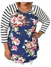 New MAXIMGR Women's Plus Size Floral Printed Striped Crewneck Long Sleeve Tunic T-Shirts online. Find the perfect COSBEAUTY Tops-Tees from top store. Sku OMQH46460UEQE54505
