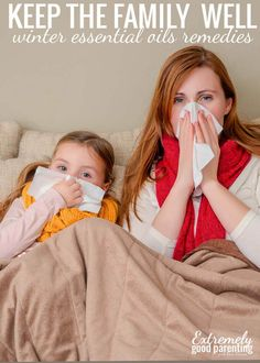 Winter essential oil remedies to keep the family healthy and also fight the yucky illnesses going around! Includes a guide on which oils are safe for what age in your family.