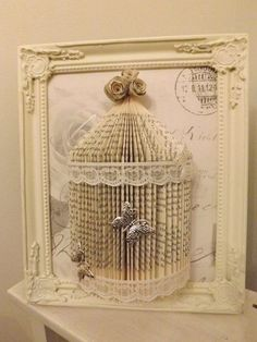 Upcycle an old book into ...Don't throw away a book away..donate or give to a friend or use it for a craft ! Shabby Chic Book Folding Bird Cage