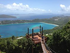Ziplining in St. Thomas with a view of Magens Bay.