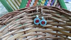 Blue handmade quilled earrings