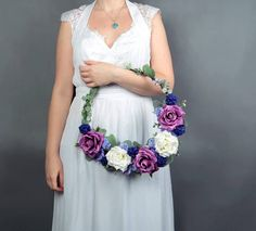 Bridesmaid floral hoop Purple boho greenery wreath bridal