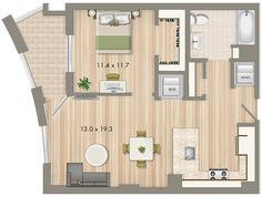 Park Chelsea at The Collective | 1 Bedroom Floorplan | 728 sq ft | Luxury Apartments In Washington DC