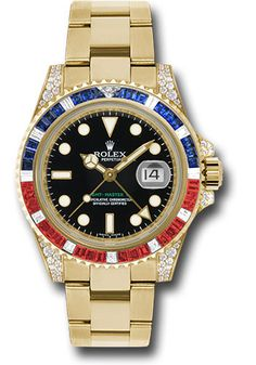 Rolex Oyster GMT-Master II yellow gold case set with 76 diamonds, yellow gold bezel set with 29 diamonds and 30 sapphires, 24 hour hand, i Luxury Watches, Rolex Watches, Cool Watches, Watches For Men, Wrist Watches, Audemars Piguet Watches, Buy Rolex, Rolex Gmt Master, Hand Watch