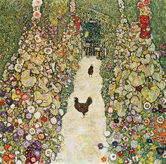 Gustav Klimt - Gartenweg mit Hühnern - jetzt bestellen auf kunst-fuer-alle.de