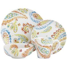 Happy Paisley Dinnerware - White