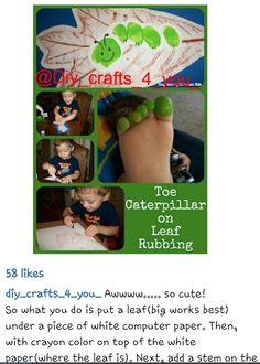Toe caterpillar on leaf crafts for kids