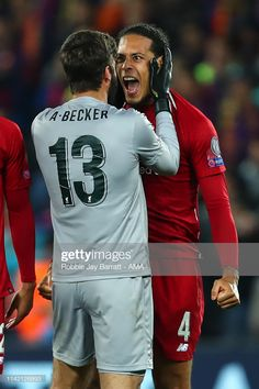 News Photo : Alisson Becker of Liverpool and Virgil van Dijk. Liverpool Anfield, Liverpool Players, Liverpool Football Club, Van Djik, Football Players, Football Kits, This Is Anfield, Virgil Van Dijk, Premier League Champions