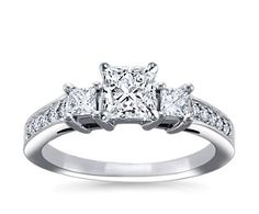 Trio Princess Cut Pavé Diamond Engagement Ring  in 14k White Gold (1/3 ct. tw.) $759 ...this is my enagement ring!