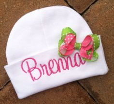Infant Beanie Hat with Bow Personalized by threadbands on Etsy, $9.99
