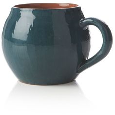 Crate & Barrel Lodge Teal Mug ($1.97) ❤ liked on Polyvore featuring home, kitchen & dining, drinkware, fillers, decor, drinks, crate and barrel and oven safe mugs