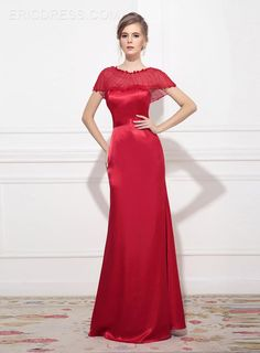 Ericdress Shiny Cap Sleeves Floor-Length Sheath Evening Dress 1