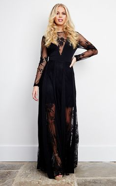 Black Lace V Neck Maxi Dress - SilkFred Source by louisahoe Boho dress Black Dress With Sleeves, Lace Dress Black, Western Lace Dresses, Lace Maxi, Custom Dresses, Boho Dress, Outfits, 2nd Anniversary, Wedding Hairstyle