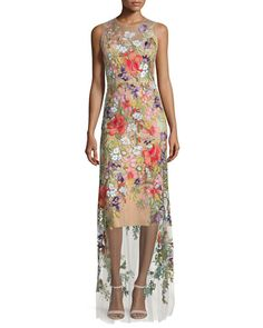 Jenny Packham Sleeveless Floral-Applique Gown, Illusion $4,800.00 NMS16_TBNF5