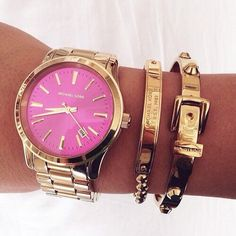 Michael Kors OFF! Loving this Michael Kors gold watch with a hot pink face for that pop of color! Dont be shy to add on a gold buckle bracelet as well Michael Kors Clutch, Bracelet Michael Kors, Michael Kors Outlet, Handbags Michael Kors, Michael Kors Jet Set, Boutique Michael Kors, Cheap Mk Bags, Mk Watch, Mk Handbags