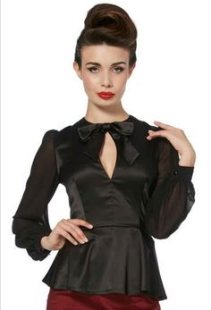 Voodoo Vixen Rockabilly Gothic Retro Vintage 40's Peplum Blouse Shirt Top (XL) -- Awesome products selected by Anna Churchill